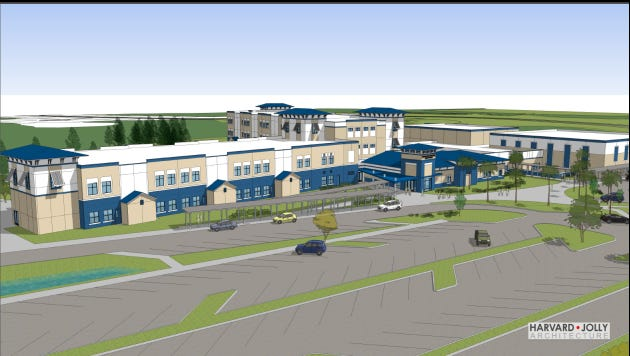 A designer's rendering of what Pine Island Academy will look like when completed.