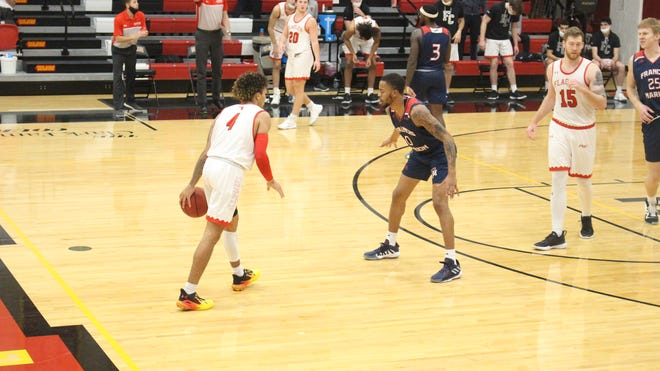 Flagler's Jaizec Lottie, left, has had six 30-point games this season and leads the Saints into the Peach Belt Conference Tournament on Thursday at home against USC Aiken.