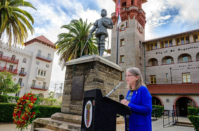 Nancy Sikes-Kline, vice mayor of the city of St. Augustine, speaks at a brief ceremony on Friday in front of City Hall to mark the 502nd birthday of Pedro Menendez de Aviles, the Spanish conquistador who founded the city in September 1565. Sikes-Kline stood next to a statue of Menendez.