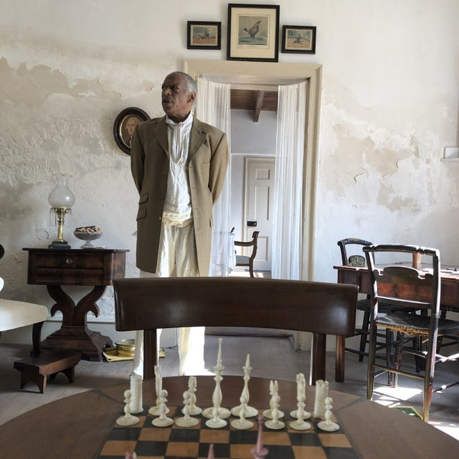 Actor James Bullock depicts figureswholived and worked at the Ximenez-Fatio Housefrom 1805 to 1889 in a special tour opening Feb. 13.