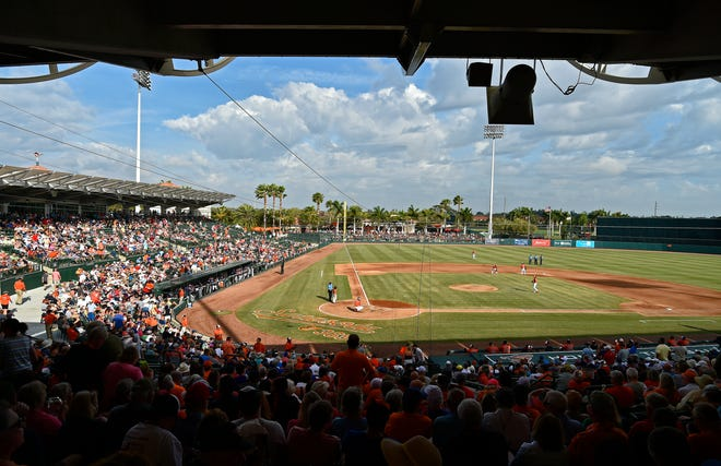 A view of Ed Smith Stadium during a spring training game between the Baltimore Orioles and Minnesota on March 5, 2020, in Sarasota. This year's crowds at Ed Smith will be limited to 25% capacity.