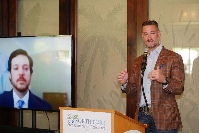 U.S. Rep. Greg Steube, seen here addressing the North Port Area Chamber of Commerce Networking at Noon luncheon in July, will appear at a virtual town hall from 11:30 a.m-12:30 p.m. Tuesday. The event will be streamed on the North Port Chamber's Facebook page.