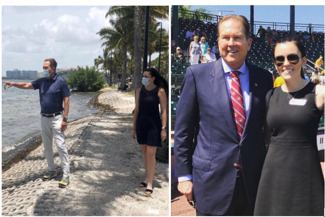 Left: U.S. Rep. Vern Buchanan tours Sarasota Bay with press secretary Chloe Conboy in July 2020. Right: Buchanan and Conboy at a Pittsburgh Pirates baseball game in Bradenton in March 2019.