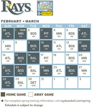 Tampa Bay Rays revised spring training schedule