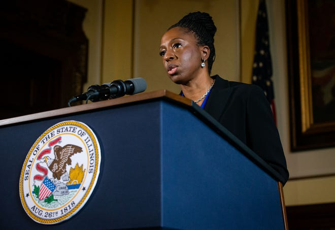 Dr. Ngozi Ezike, director of the Illinois Department of Public Health, gives an update on the COVID-19 pandemic in Illinois during a press conference at the Illinois State Capitol, Monday, January 11, 2021, in Springfield, Ill.