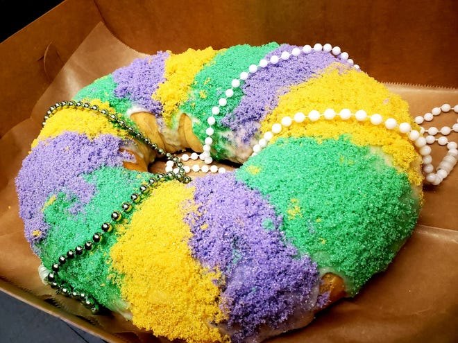 Pasty chef Amanda Schall has been making king cakes in preparation for the Mardi Gras holiday.