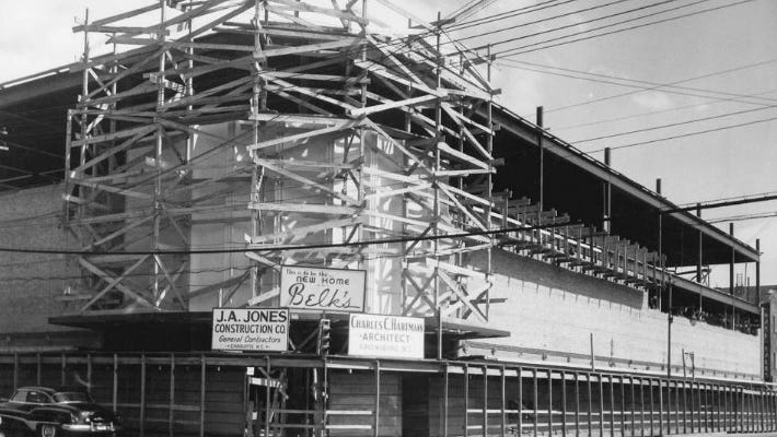 Belk under construction at the corner of Chestnut and Second streets before its 1951 opening.