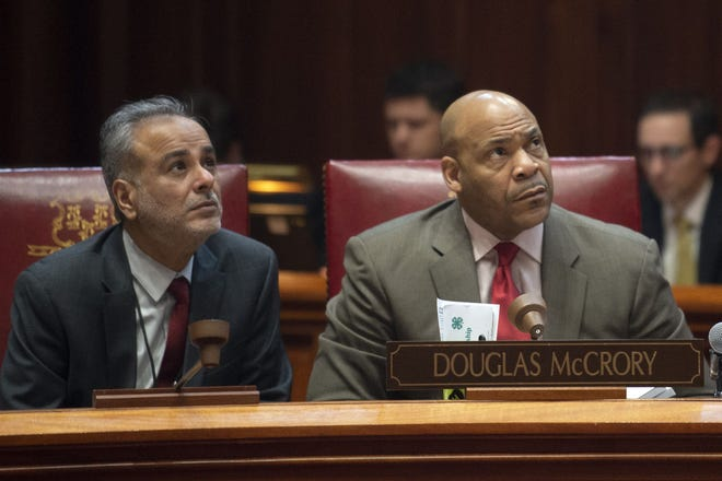 State Sen. Doug McCrory, D-Hartford, right, is pictured with state Sen. Saud Anwar, D-South Windsor, in 2019. McCrory clashed with Gov. Ned Lamont's budget director Thursday saying the budget he presented did not do enough to help those struggling in the state's cities.