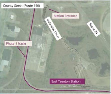 Peta lokasi pintu masuk ke Stasiun MBTA Taunton Timur.