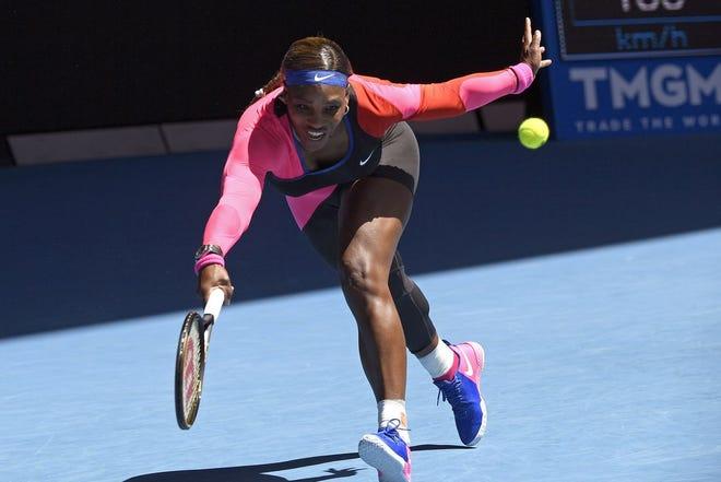 Serena Williams makes a forehand return to Anastasia Potapova during their third-round match at the Australian Open.
