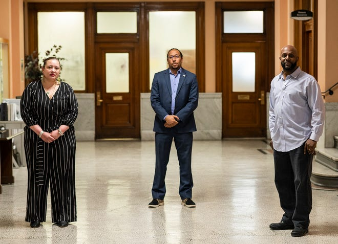 From left, Isabel Gonzalez-Webster, executive director of Worcester Interfaith; City Councilor-at-Large Khrystian King; and Fred Taylor, president of the Worcester branch of the NAACP; at City Hall on Friday.