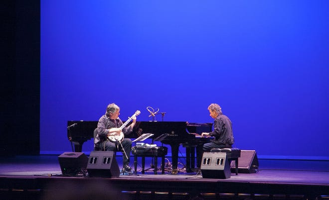 Bela Fleck, left, and Chick Corea perform Tuesday at The Hanover Theatre for the Performing Arts in April 2016.