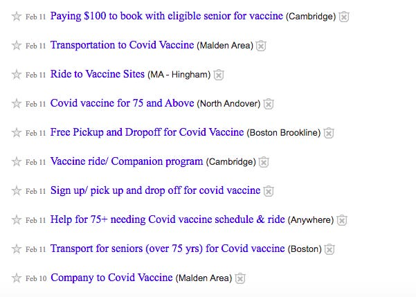 Dozens of people in Massachusetts have taken to Craigslist and other platforms offering to accompany those 75 and older to their vaccine appointments, following announcement from the state that those people, too, could receive the vaccine.
