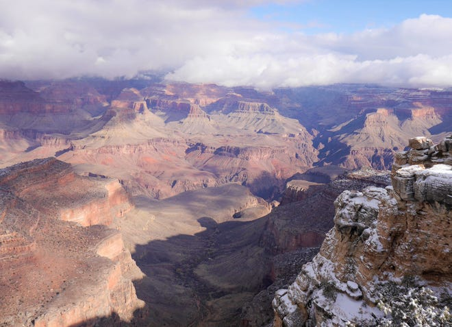 The view east from the South Rim of the Grand Canyon in Arizona.