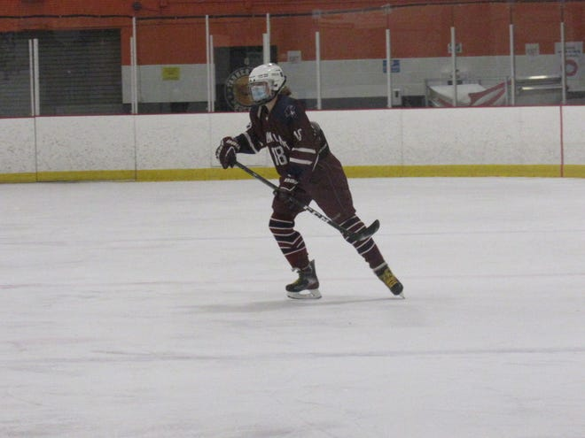 Senior Captain Del Bonnin skates up the ice after making a great defensive play.