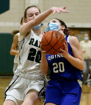 Quincy's Mary Saccoach earns a trip to the line after a foul by Marshfield's Julie O'Keefe during a fast break in the second quarter of their game in the first round of the Patriot Cup at Marshfield High on Thursday, Feb. 11, 2021.