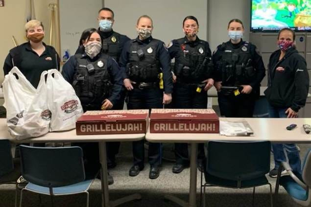 D'Angelo Grilled Sandwiches recently delivered free sandwiches and chips to the Stoughton Police Department. The donation was part of D'Angelo's EveryDAy Heroes program in which D'Angelo seeks out community heroes and delivers them sandwiches and chips as a sign of appreciation.