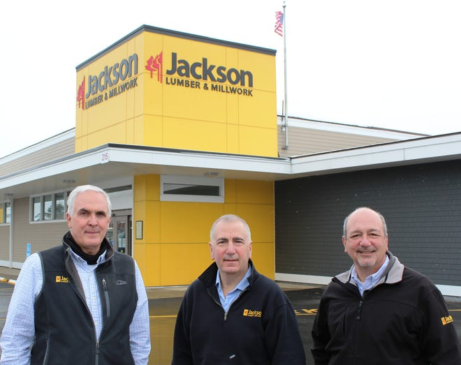 The third generation of Torrisi family leadership of Jackson Lumber & Millwork at the Lawrence headquarters. Pictured, from left: Joe Torrisi, executive vice president; Jay Torrisi, CEO and treasurer; and Mark Torrisi, president.