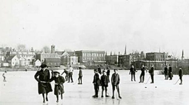 In this photo dated 1911, families skated on what was then called Mill Pond, behind the current Hudson Public Library and St. Luke's Church. In later days, locals skated at Tripp's Pond, Pickles Pond, ice rinks on Apsley Street at the old Apsley Rubber Co., VFW Ice Rink on South Street, Chamberlain Rink off Cox Street, and the ice rink near the State Armory.