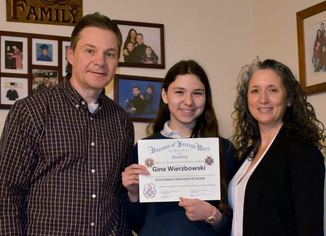 Stoneham VFW Post 620 Voice of Democracy audio-essay first place winner and Massachusetts District winner was Gina Wierzbowski, pictured with her parents, Jamey and Donna Wierzbowski.