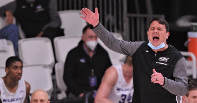 ACU men's basketball coach Joe Golding yells instructions to his team during the Wildcats' Southland Conference game against Houston Baptist. ACU beat the Huskies 88-59 on Wednesday.