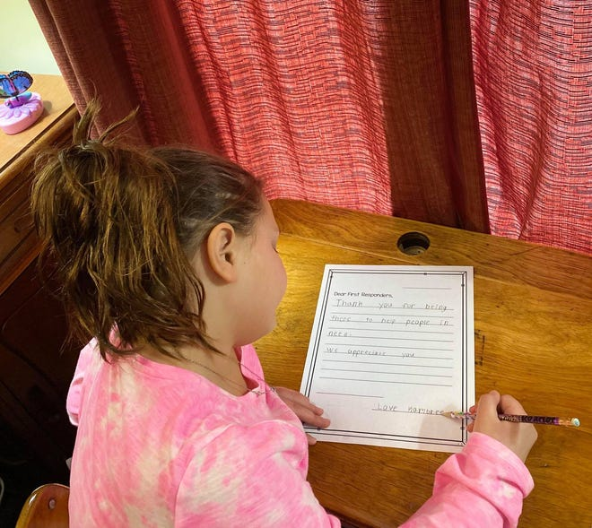 Kambree Diehl, 8, is a second-grade student enrolled in the Chillicothe City School District's virtual learning academy. Students were asked to write just a few valentines to essential workers in the community but Diehl decided to do more. With the help of her grandparents, she even mailed and delivered the letters.