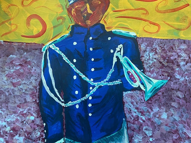 """""""Buffalo Soldier"""" by Rashard Smith is a semi-abstract piece that he created for the Black History Month art show. Native American tribes gave a Black Cavalry the nickname while fighting in the Indian Wars."""
