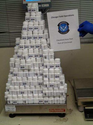 """U.S. Customs and Border Protection officers in Cincinnati say they recently stopped an illegally imported shipment of more than 40 pounds of Viagra pills and another 36 pounds of """"miracle honey."""""""