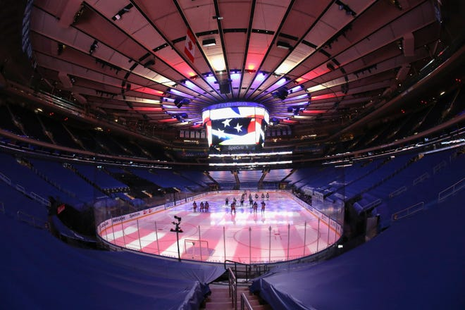 The New York Rangers prepare to play against the Boston Bruins in an NHL hockey game Wednesday, Feb. 10, 2021, in New York.