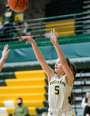 CMR's Shania Gardipee shoots from the outside during Thursday's crosstown basketball game against Great Falls High.
