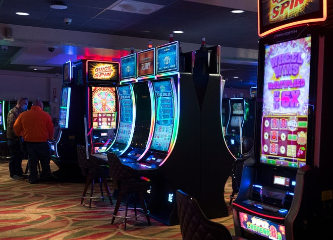 The Gaming Floor featuring historical horse racing machines in the Clubhouse at Ellis Park in Henderson, Ky., Friday morning, Feb. 12, 2021.  The Kentucky House of Representatives passed Senate Bill 120 legalizing historical horse racing machines Thursday evening.