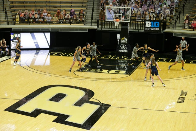 Inside Mackey Arena during the fourth quarter of an NCAA women's basketball game, Thursday, Feb. 11, 2021 in West Lafayette.