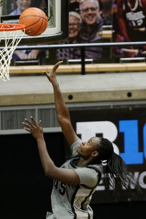 Purdue center Fatou Diagne (45) goes up for a layup during the third quarter of an NCAA women's basketball game, Thursday, Feb. 11, 2021 at Mackey Arena in West Lafayette.
