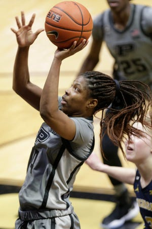 Purdue guard Rokia Doumbia (4) goes up for a layup during the fourth quarter of an NCAA women's basketball game, Thursday, Feb. 11, 2021 at Mackey Arena in West Lafayette.