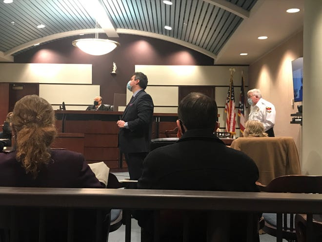 Marion County Prosecutor Ray Grogan begins his opening statements during a probable cause hearing on Feb. 11, 2021 in the Marion courts.