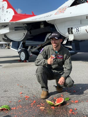 NASCAR driver Ross Chastain, a watermelon farmer from Alva, smashed a watermelon after flying with the Thunderbirds on Thursday, Feb. 11, 2021 ahead of Sunday's Daytona 500.