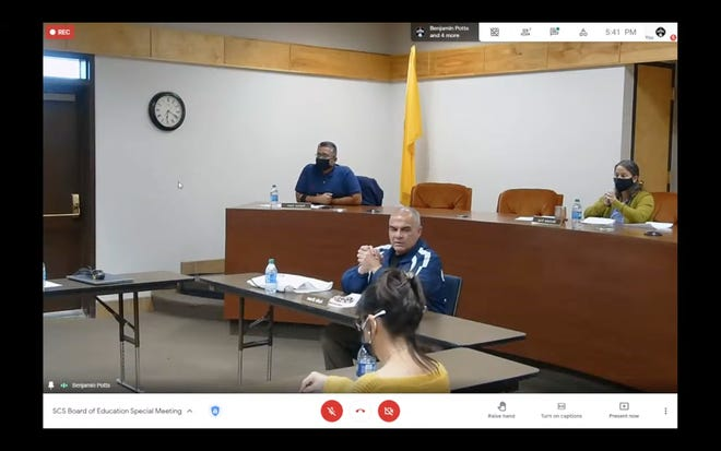 Silver Consolidated Schools Superintendent Audie Brown speaks to the board members in a virtually broadcast socially distant board meeting on Thursday, Feb. 11, 2021.