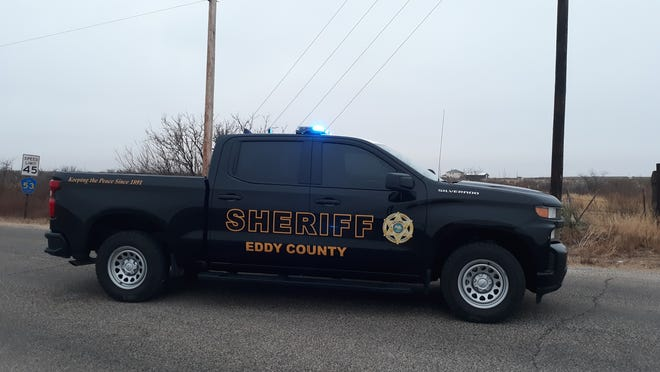 An Eddy County Sheriff's unit blocks traffic at 26th Street and Tumbleweed Road in Artesia on Feb. 12, 2021. Deputies were called to a fatal crash at 6:52 a.m. at 26th Street and Fairgrounds Road.