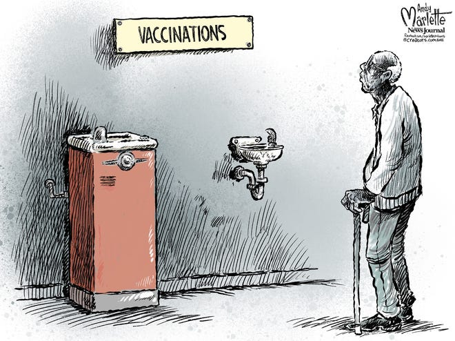 Marlette cartoon: Racial inequality in COVID vaccination rates