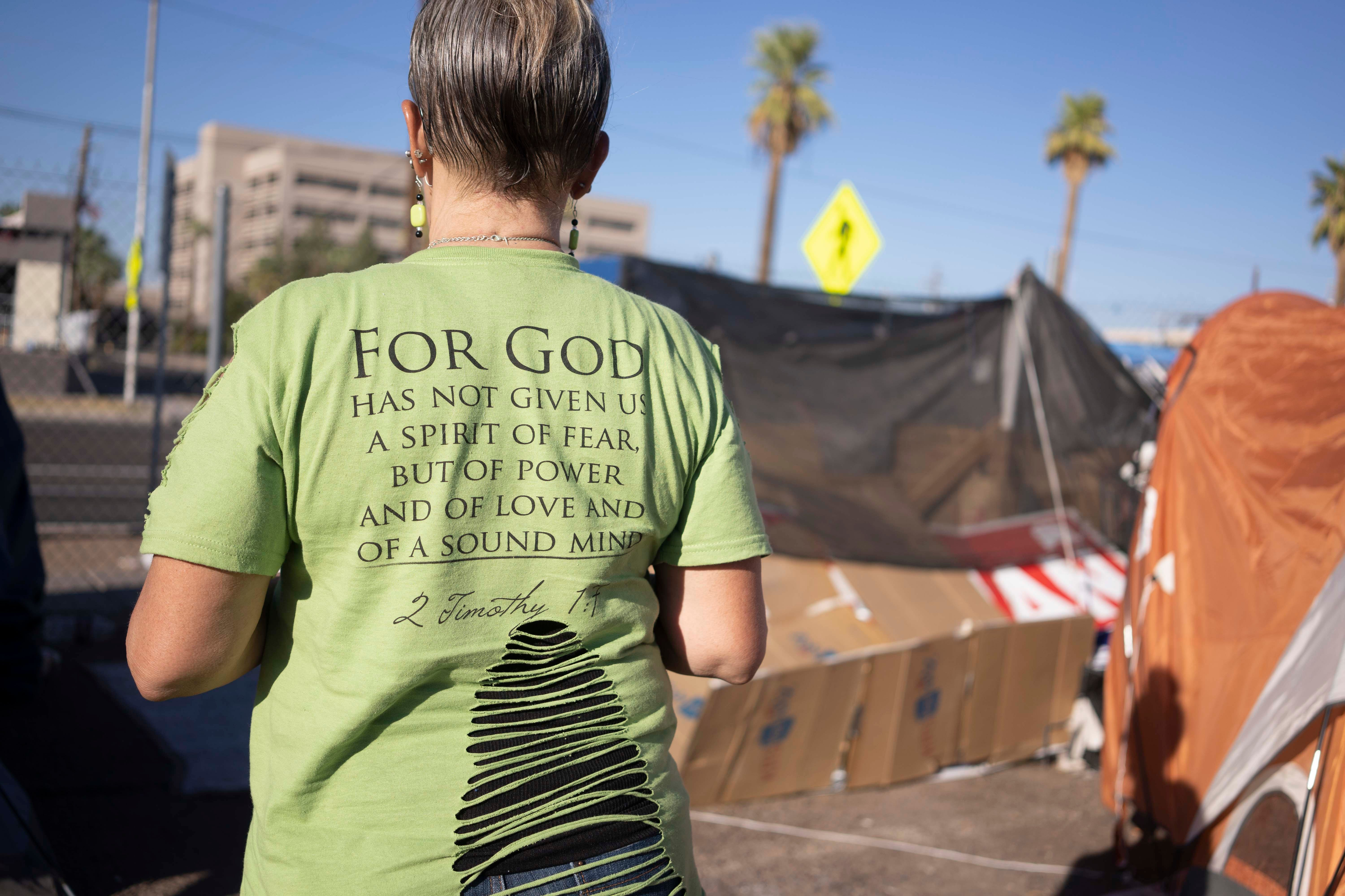 """Darlene Carchedi (seen on Oct. 15, 2020) says the new security guards at the homeless encampment in Phoenix were treating them """"like prisoners"""" again. The old guards, who she'd formed a great connection with, had been reassigned."""