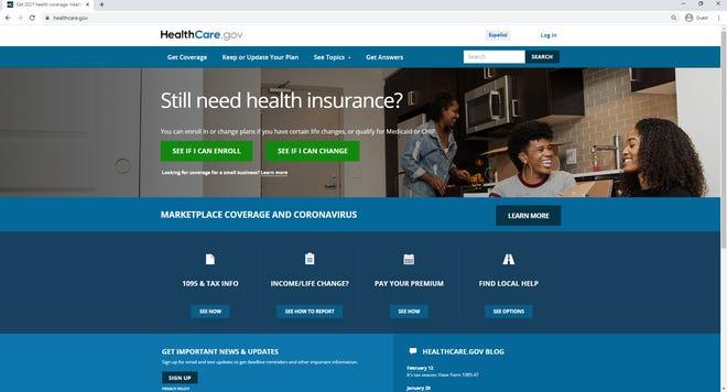 Healthcare.gov website screenshot on Feb. 12, 2021.