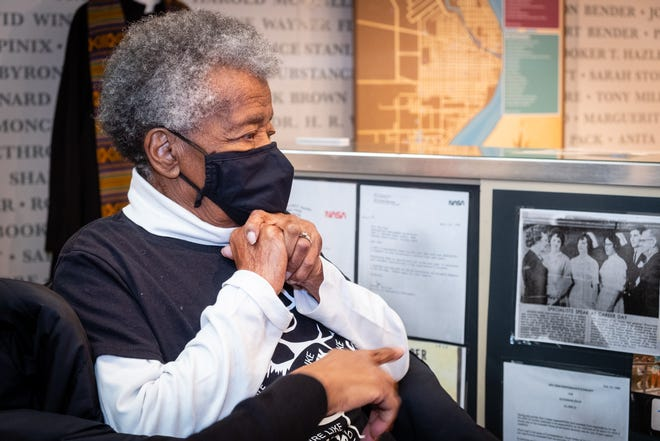 Marguerite Stanley looks at exhibits in the Port Huron Museum's Black history exhibit Friday, Feb. 12, 2021, at the museum's Carnegie Center.