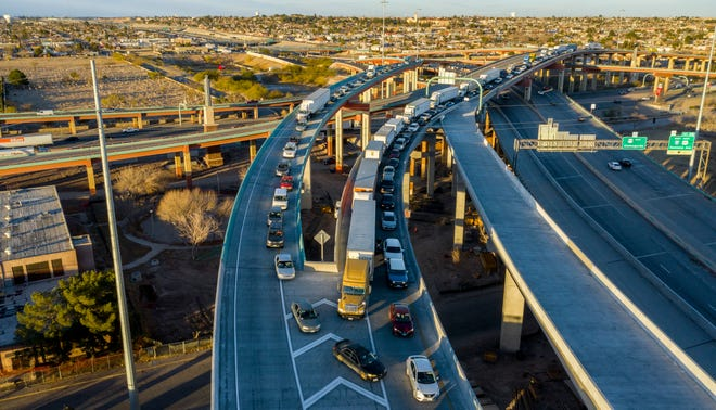 An aerial view of the traffic leading to the Bridge of the Americas international port of entry that leads into Juárez from El Paso at the Spaghetti Bowl is shown Feb. 10 in El Paso.