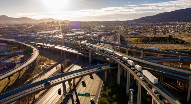 """An aerial view of the traffic leading to the Bridge of the Americas international port of entry that leads into Mexico from El Paso at the """"Spaghetti Bowl"""" is shown Feb. 10 in El Paso"""