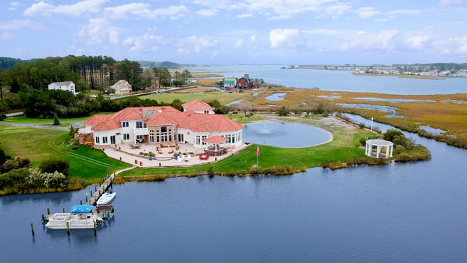 This 10,000-square-foot home on Dirickson Creek Road near Frankford has access to the inland bays.