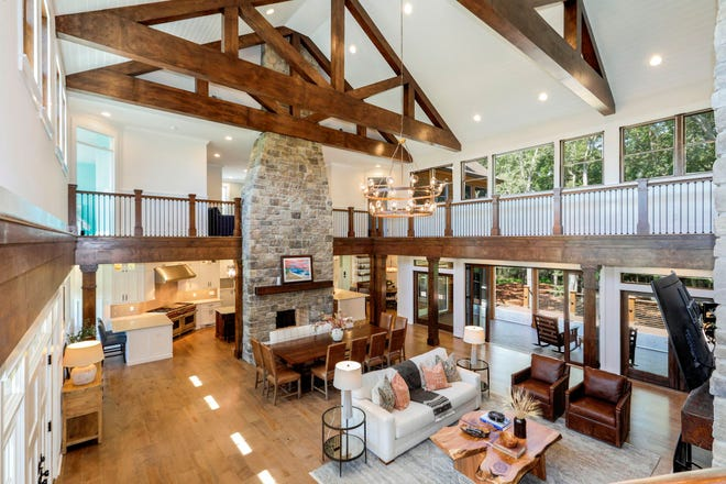 The spacious interior of the home at 35867 Tarpon  Drive near Lewes features 7 bedrooms and 7.5 baths.