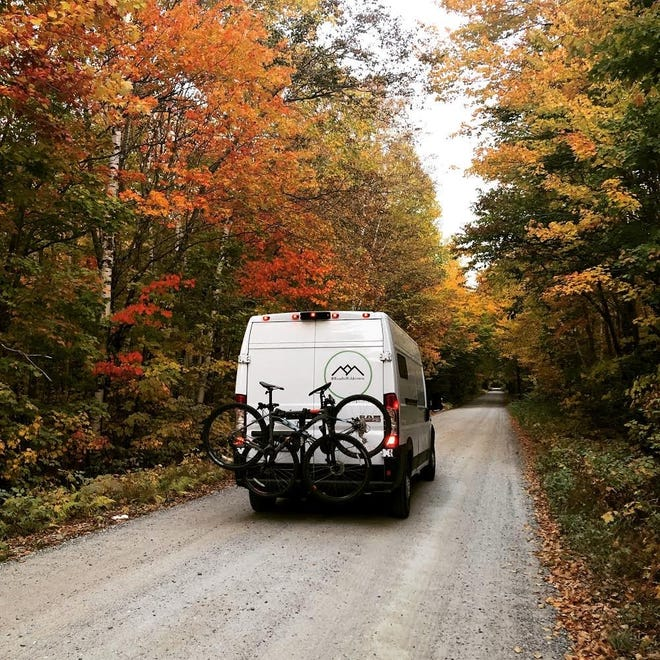 Abby and Cody Erler converted this Ram ProMaster van into use for life on the road during the pandemic, spending about $10,000 on upgrades, including a bed, electrical wiring, shelving and a stove. They are showcasing their story on Instagram @roadtowilderness.