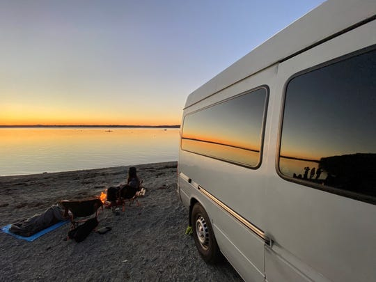 During the COVID-19 pandemic, Corey and JennaLynn Self upgraded a used Mercedes-Benz Freightliner Sprinter van to a vehicle suitable for life on the road.  They have since left their apartment in Washington, DC to work remotely from their van in destinations across the country, and show off their adventures on Instagram @drivingourselfs.