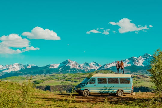 The couple Natalie and Abigail Rodriguez travel the country living in a converted Mercedes-Benz Sprinter van and show their adventures on Instagram @letsplayrideandseek.