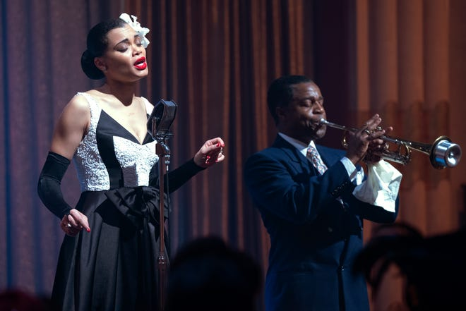 "Andra Day and Kevin Hanchard in a scene from ""The United States vs. Billie Holiday."""